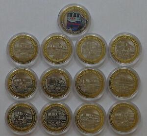 set of 13 coins 10 rubles legendary locomotives Rossiyskie zheleznye dorogi UNC