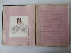 ANTIQUE VICTORIAN SCRAP ALBUM CIRCA 1840s SCRAPS & POEMS & OTHER TEXT 2 SKETCHES