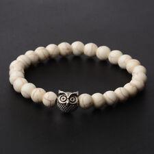 Handicrafts Stone Beads Silver Plated Owl Elastic Eergy Bracelets Hippie Jewelly