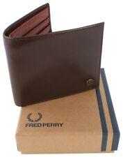 Fred Perry Internal Embossed Billfold Wallet Brown Genuine L6252-103