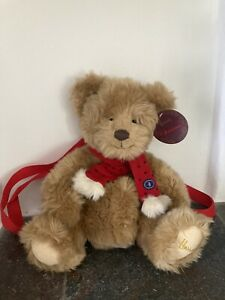Harrords Christmas Teddy With Red Scarf & Harness For Child To Wear On Back Tags