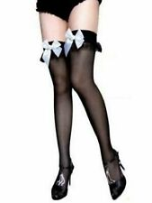 Black Sheer Stockings One Size ruffle top white large satin bow elasticated tops
