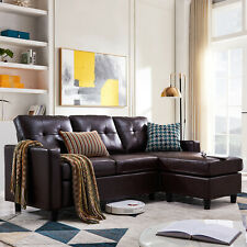 Faux Leather Sectional Sofa L-Shaped Couch W/Reversible Chaise for Small Space