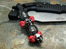 BLACK PARACORD KNIFE LANYARD SILVER SKULLS & RED SKULL BEADS AMERICAN MADE