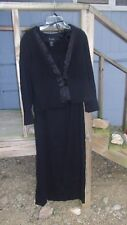 VIRGO  Black 2 piece dress~Long or 3/4 sleeve, long dress, exc, size 16