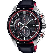 CASIO EDIFICE, EQS600BL-1A EQS-600BL-1A, SOLAR, LEATHER BAND, BLACK x RED