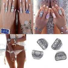 Woman 4PCS Vintage Gypsy Boho Carved Totem Antique Silver Plated Midi Rings Sets