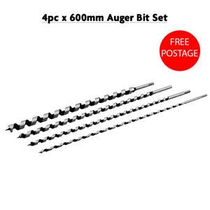 4Pc Extra Long Wood Auger Set 600mm X Long Wood Bits 8 12 16 24mm Drill Bit