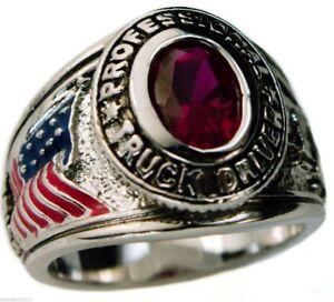 TRUCKER USA Men's Pinkie ring Ladies Ruby Simulated platinum overlay size 7