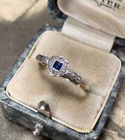 Antique Square Cut Sapphire & Diamond Engagement Ring, 18ct Gold & Platinum, N.5