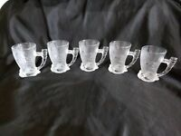 SET OF 5 FLINTSTONES MAMMOTH MUG MCDONALDS GLASSES, 1993 MADE IN FRANCE EUC