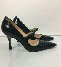 Manolo Blahnik Campari Black Patent Leather Mary Jane Pumps Heels Sz 37 - 7