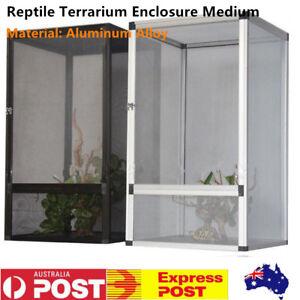 Reptile Enclosure Lizard Snake Insect Mesh Cage Aluminum Alloy Silver/Black AU