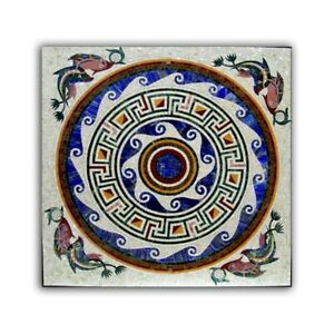 Black Marble Dining Table Top Mosaic Fishes Inlay Handmade Arts Home Decors B391