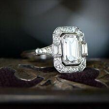 Art Deco Style 925 Sterling Silver Emerald-cut Milgrain Engagement CZ Ring Women