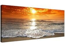 Cheap Canvas Pictures of a Tropical Beach Sunset for Your Bedroom - Panoramic SE