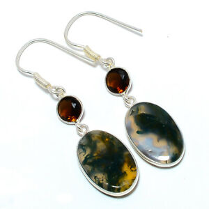 """Moss Agate - India & Smoky Quartz 925 Sterling Silver Jewelry Earring 2.15"""" S266"""
