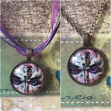 "Dragonfly Clock Face Steampunk Purple Jewelry pendant 18"" Ribbon & Bronze Chain"
