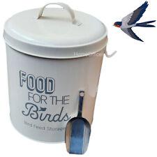 Bird Food Feed Storage Tin with Scoop Metal Birds Feeding Holder Seed Bin