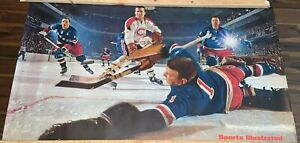 """Vintage 1960s Sports Illustrated NHL Rangers Canadiens Poster  21"""" x 37"""""""