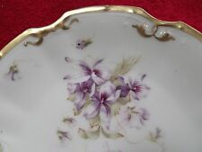 """LS&S Lewis Strauss&Son LSS80 Limoges France (6) 8"""" plates Hand? painted Violets"""