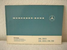 Mercedes Benz Service Manual Air Cond System 200/220/220D/230/250 Series