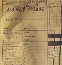 orig. Filmplan / Raw Schedule 440x157 Fernsehfilm NOBLE HOUSE - BAVARIA Studios