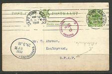 SOUTH AFRICA. GV. 1918. WW1. CENSORED CARD TO GERMAN SOUTH WEST AFRICA OVAL EXCI