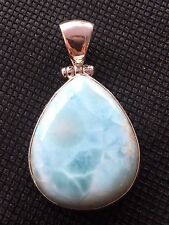 SOLID 925 STERLING SILVER TRENDY EXTRAORDINARY LARIMAR PENDANT JEWELRY