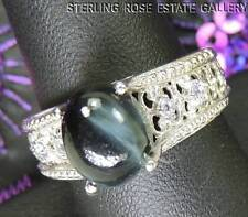 BLACK Tiger's EYE with iolite STERLING SILVER 925 ESTATE ENGAGEMENT RING sz 8