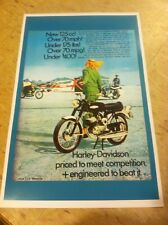 Vintage 1968 Harley Davidson Rapido Motorcycle Poster Ad Home Decor Art