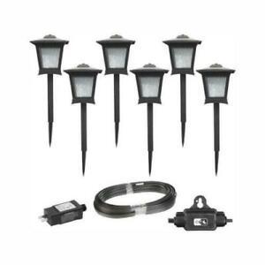 Hampton Bay Low Voltage Black Outdoor Integrated LED Landscape Path Lights 6-Pk