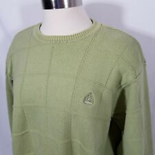 Izod Sweater Boyfriend Crew Neck Block Seafoam 100% Cotton Israel square pattern