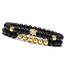 Charm Mens Jewelry Skull Bracelet Elastic Black Beads Natural Stone Bangle Sets