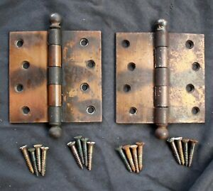 """2 avail Pair 4""""x4"""" Antique Vintage Old Copper Steel Exterior Entry Door Hinges"""