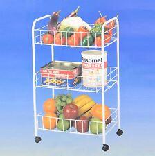 3 Tier White Metal Kitchen Storage Vegetable Trolley Cart Fruit Drawer Wheels