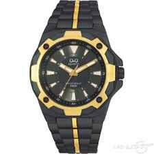 Q&Q CITIZEN QUARTZ  BLACK & GOLD PLATED ANALOG STAINLESS STEEL WATER RESISTANT