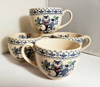 Johnson Brothers Sugar & Spice CUPS LOT of 4 Owl Cups BLUE Old Granite England