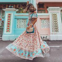 Elegant Boho Printed Summer Holiday Beach Skirt With Off Shoulder Round Dress