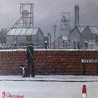 James Downie Original Oil Painting - Industrial Landscape - Pit Road - Man & Dog