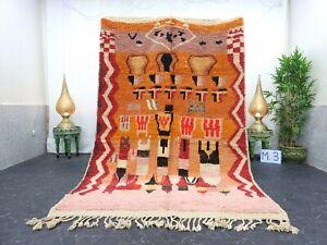 "Moroccan Boujaad Handmade Rug 5'7""x8'4"" Berber Patchwork Orange Pink Wool Rug"