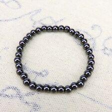 MAGNETIC 6mm HEMATITE Bracelet ARTHRITIS Healing Chakra Reiki silver grey 17cm