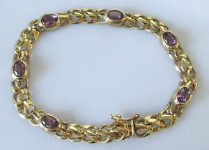 Gold Amethyst Bracelet - 9ct Gold Multi Oval Amethyst Link Bracelet (13.0g)