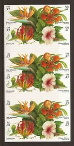 Scott #3313a, 1999 33¢ TROPICAL FLOWERS Double sided booklet of 20, 2012 CV $23