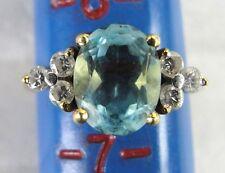 Blue Topaz & Diamond 18k Yellow Gold Size 6 1/2 Ring *3.53 CT Topaz .25 Diamond*