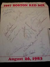 Rare 1967 RED SOX BASEBALL Autograph Sheet, Dated Aug. 1983 Reunion, Many Sig's.