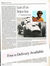 vintage LUIGI MUSSO Ferrari F1 History Article / Photo ;  Formula One F-1