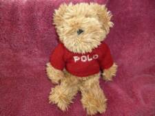 "Ralph Lauren plush bear 2002 tan Teddy 8"" red POLO sweater stuffed animal"