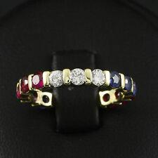 Edler Designer Brillant Saphir Rubin Ring mit ca. 1,56 ct.   585/- Gelbgold