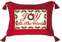 "PILLOWS - ""JOY TO THE WORLD"" PILLOW - PETIT-POINT CHRISTMAS PILLOW"